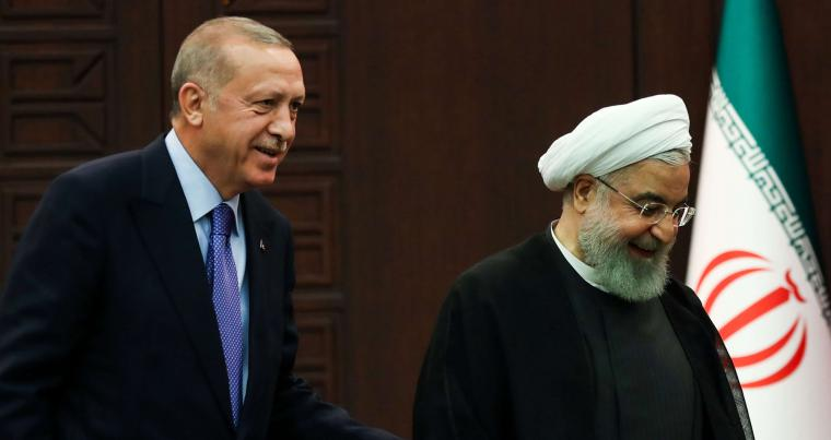 A 2019 file picture of Turkish President Recep Tayyip Erdogan (L) and Iranian President Hassan Rohani (R) in Ankara. AFP