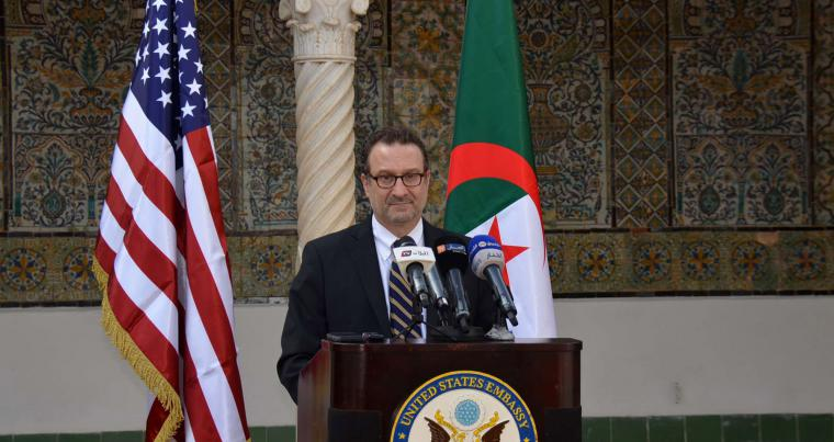 US Assistant Secretary of State for Near Eastern Affairs David Schenker speaks during a press briefing in Algiers, January 7, 2021. (AFP)