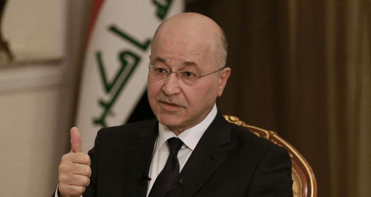 A March 2019 file photo of Iraqi President Barham Salih speaking during an interview in Baghdad, Iraq. (AP)