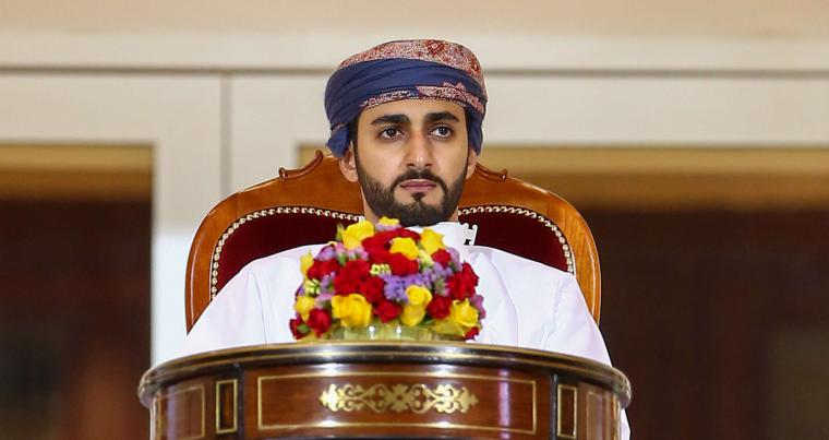 In his capacity as minister of culture, sports and youth, Sayyid Dhi Yazan bin Haitham attends the Sultan Qaboos fooball Cup final, a stadium west of the Omani capital Muscat, November 29, 2020. (AFP)