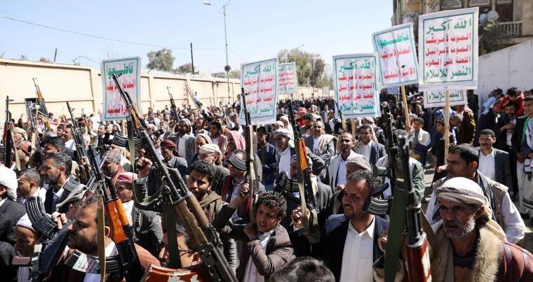 "Houthi supporters demonstrate against the United States decision to designate the Houthis as a foreign terrorist organisation, in Sana'a, Yemen January 20, 2021. Signs read: ""Death to America. Death to Israel. Death to Jews"". (REUTERS)"