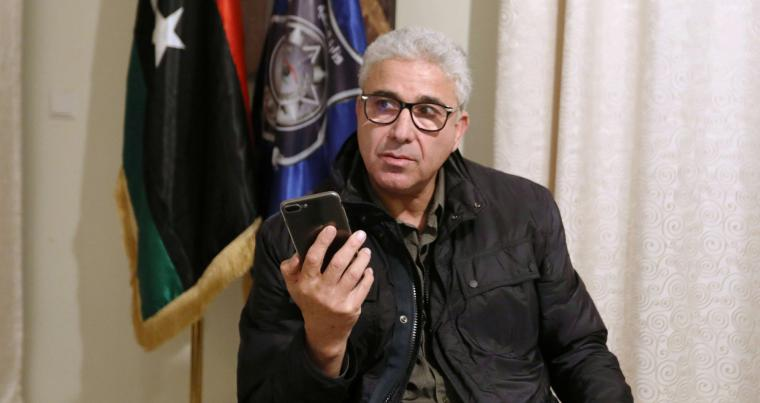 Interior Minister of the Tripoli-based UN-backed Government of National Accord (GNA) Fathi Bashagha speaks after escaping an assassination attempt on him, in Tripoli,  February 21, 2021. REUTERS