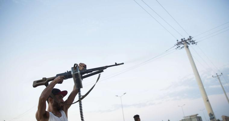 A file picture shows fighters loyal to the GNA on the front lines during clashes in southern Tripoli. AP