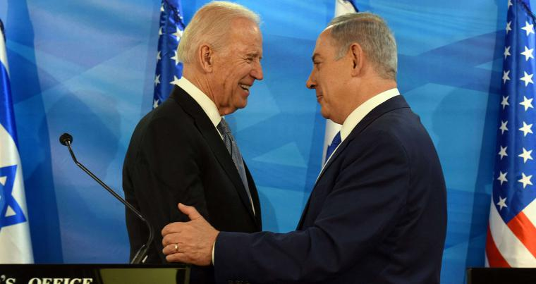 Then-US Vice President Joe Biden and Israeli Prime Minister Benjamin Netanyahu give joint statements at the prime minister's office in Jerusalem, in March 2016. (AFP)