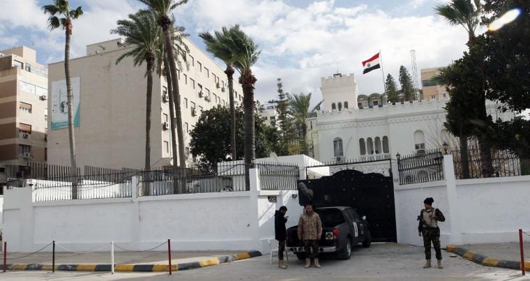 Outside view of security in front of the Egyptian Embassy in Tripoli, January 25, 2014. (Reuters)