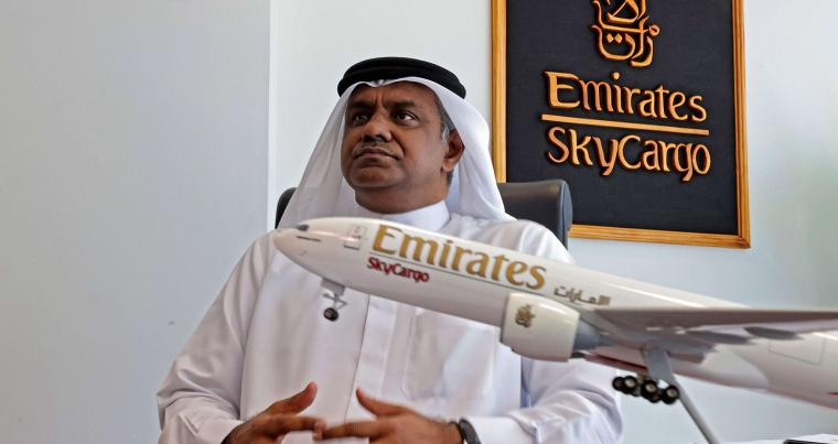 Nabil Sultan al-Murr, divisional senior vice-president of cargo Emirates Skycargoat, speaks during an interview at Dubai International Airport on February 1, 2021.(AFP)
