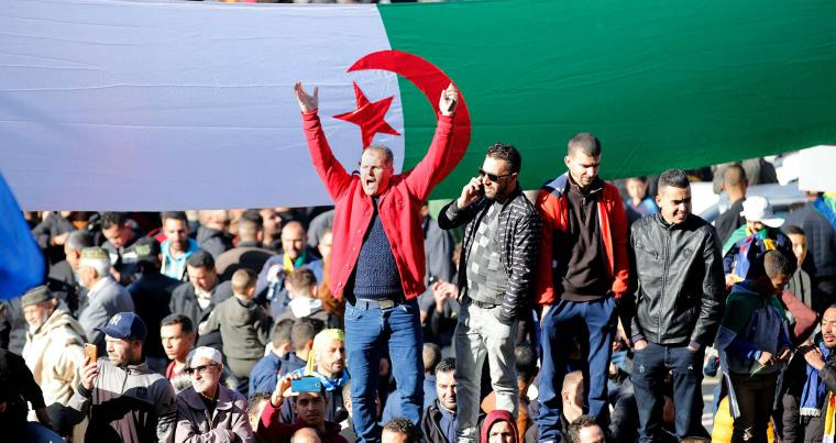 Algerians rally in the northern town of Kherrata, marking some of the first Hirak protests on February 16, 2021. (AFP)