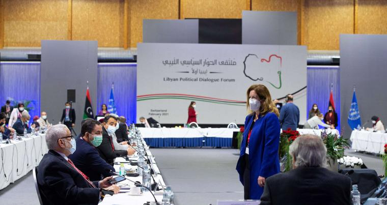 Acting Special Representative of the Secretary-General Stephanie Williams attends the first day of the Libyan Political Dialogue Forum at an undisclosed location, Switzerland, February 1, 2021. (REUTERS)