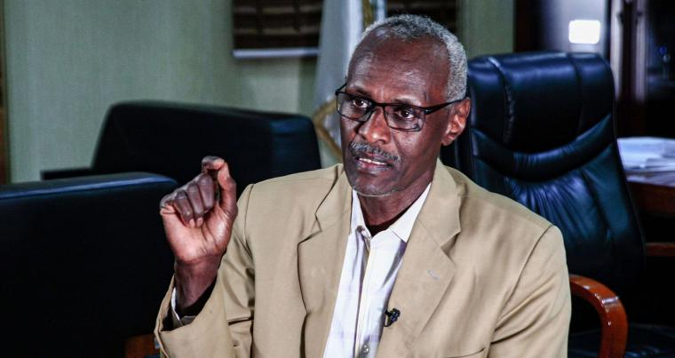 Sudan's water and irrigation minister Yasser Abbas gives an interview at his office in the capital Khartoum on February 6, 2021. (AFP)