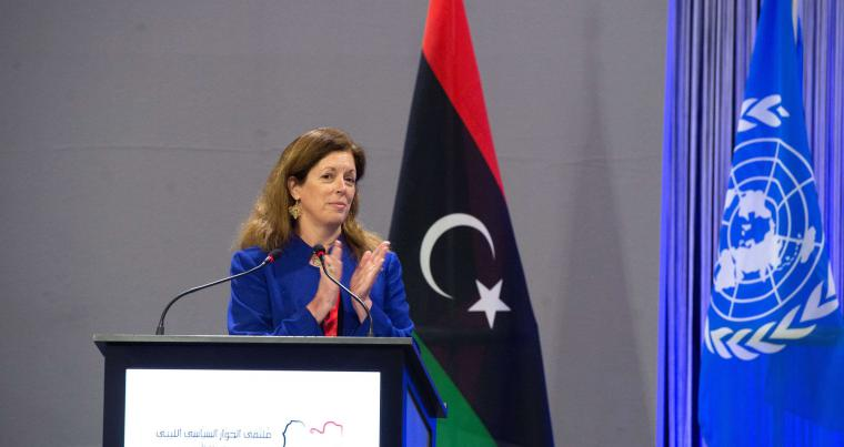 Acting Special Representative of the Secretary-General Stephanie Williams speaks at the Libyan Political Dialogue Forum at an undisclosed location, Switzerland. REUTERS