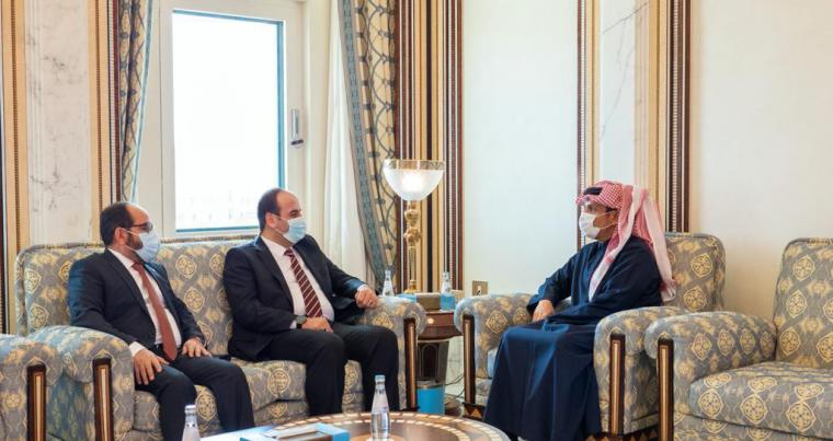 Deputy Prime Minister and Minister of Foreign Affairs Sheikh Mohammed bin Abdulrahman Al-Thani meets with President of the National Coalition of Syrian Revolution and Opposition Forces Nasr Al Hariri, February 22, 2021 in Doha. (twitter)