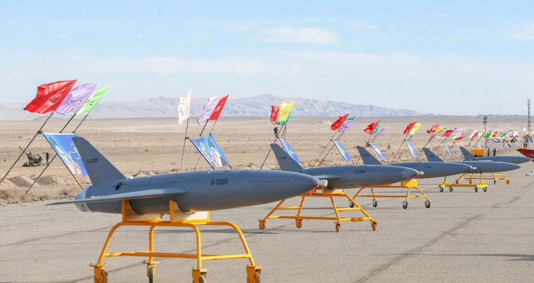 Drones are seen during a large-scale drone combat exercise of the Iranian army, in Semnan, Iran. (AFP)