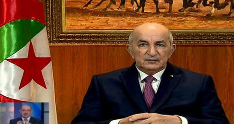 A video grab from Algeria 3 public channel shows Algerian President Abdelmajid Tebboune giving a televised speech in which he called for the dissolution of parliament and early elections, on February 18, 2021. (AFP)