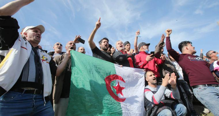 Demonstrate protest outside the Kolea prison, west of the capital Algiers, February 19, 2021. (REUTERS)