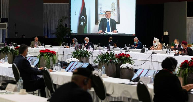 Abdul Hamid Mohammed Dbeibah delivers a speech via video link during a meeting of the Libyan Political Dialogue Forum (LPDF) on February 3, 2021, at an undisclosed location near Geneva. (AFP)