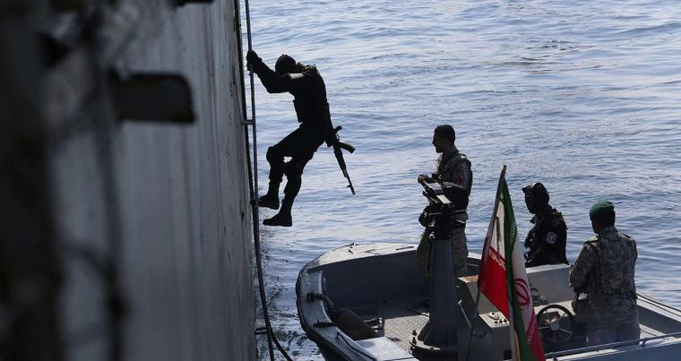 Members of the Iranian navy participate in a joint naval exercise between Iran and Russia in the Indian Ocean, Iran, February 17, 2021. (WANA/ REUTERS)
