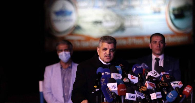 Egyptian chairman of the Suez Canal Authority (SCA) Osama Rabie talks during a press conference on March 29, 2021. (AFP)