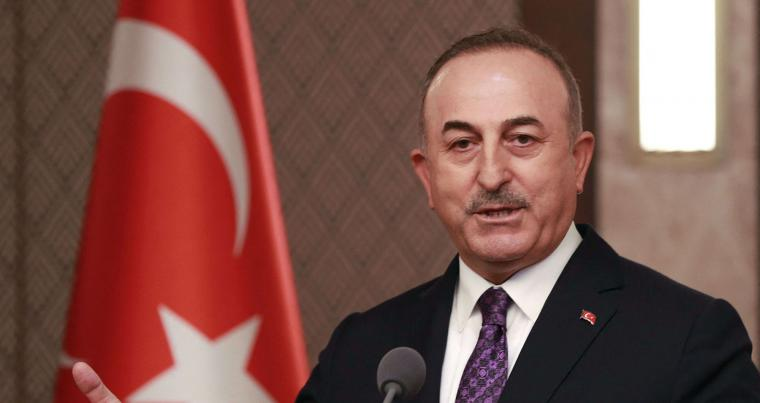 A file picture of Turkish Foreign Minister Mevlut Cavusoglu speaking at a news conference in Ankara, in April 2021. (AFP)