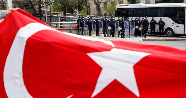 Turkish police stand guard near the U.S. Embassy as members of Vatan (Patriotic) Party hold a protest against US President Joe Biden's genocide recognition statement, in Ankara. (REUTERS)