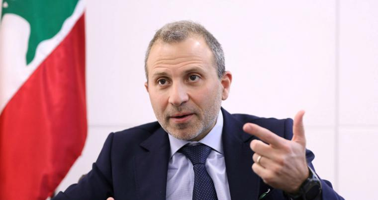 A file picture of Gebran Bassil, head of the Free Patriotic movement, talking during an interview. (REUTERS)