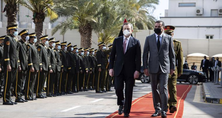 Abdul Hamid Dbeibeh, the prime minister of the Government of National Unity, right, welcomes Mario Draghi, the Prime Minister of Italy, April, 6 2021 in Tripoli, Libya. (AP)