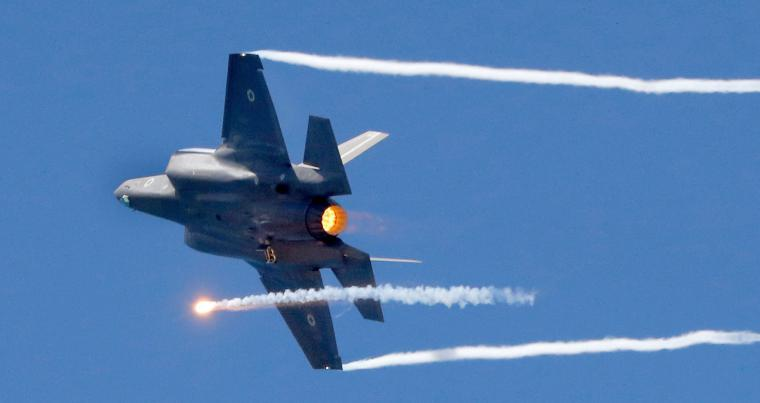 An Israeli F-35 fighter jets performs during an air show in the Mediterranean coastal city of Tel Aviv. (AFP)