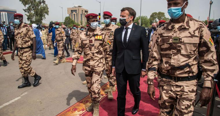 French President Emmanuel Macron and Mahamat Idriss Deby, son of late Chadian President Idriss Deby, attend the state funeral of the slain leader in N'Djamena, Chad, April 23, 2021. (AFP)