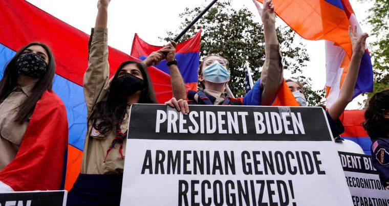 Members of the Armenian diaspora rally in front of the Turkish Embassy in Washington  after US President Joe Biden recognised the Armenian genocide, April 24, 2021. (REUTERS)