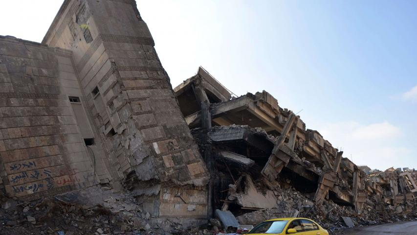 A damaged building in the Iraqi city of Mosul on February 14. (AFP)