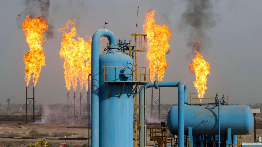The Nahr Bin Omar natural gas field, north of the southern Iraqi port of Basra on January 22. (AFP)
