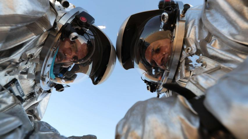 Scientists test space suits and a geo-radar for use in a future Mars mission in Oman's Dhofar desert, on February 7. (AFP)