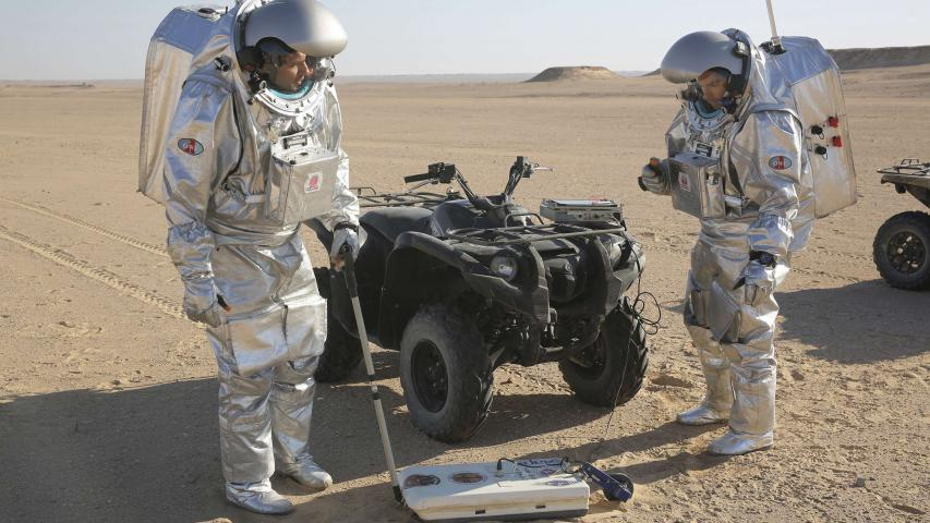 Scientists test space suits and a geo-radar for use in a future Mars mission in Oman's Dhofar desert, on February 7. (AP)