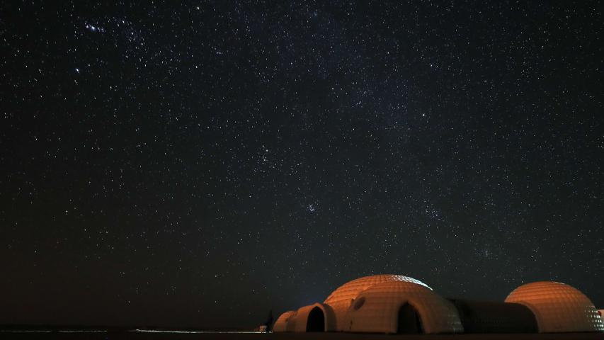 A simulation Mars habitat, with a view of the night sky above, in Oman's Dhofar desert, on February 7. (AFP)