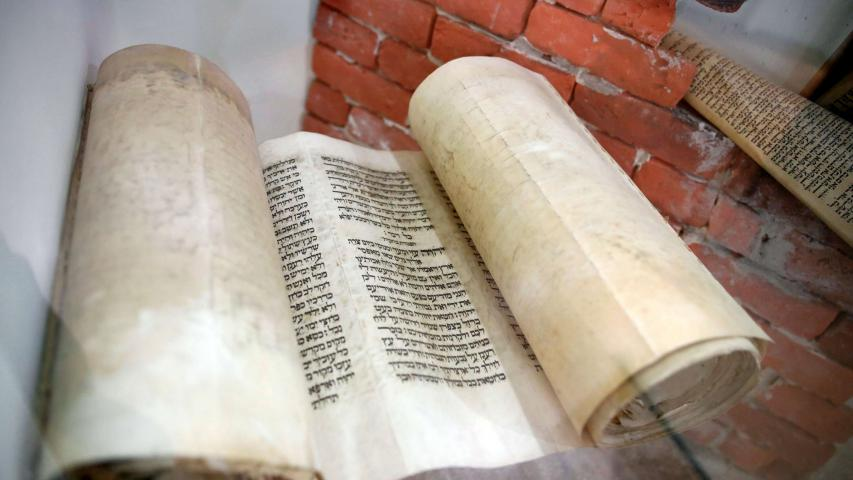 A Torah scroll is seen on display at the Babylonian Jewry Heritage Centre in Or Yehuda, Israel. (Reuters)